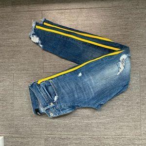 Express Ankle Side Stripe Distressed Jeans